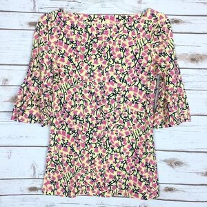 Lilly Pulitzer Bell Sleeve Boat Neck Top Small